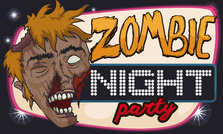 Halloween disco banner for zombie party with a smiling undead face.