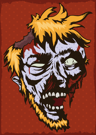 Poster with young blond haired zombie face with beard in pop art style. Illustration