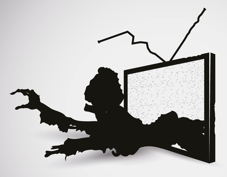 terrifying: Terrifying zombie crawling coming out of television in silhouettes.