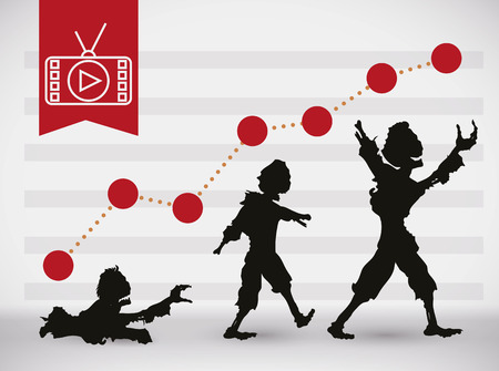 Infographic in line graphs style with ascending trends for zombies in media and television. Illustration