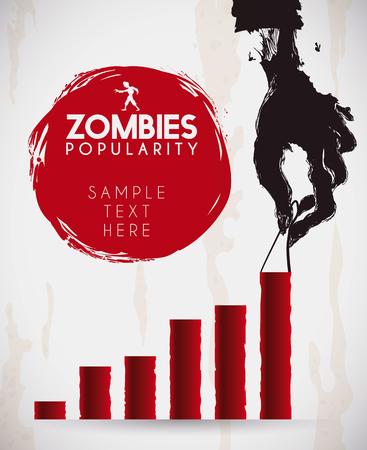 popularity: Spooky rotten zombie hand holding on a statistics bar for trends infographic about undead popularity.