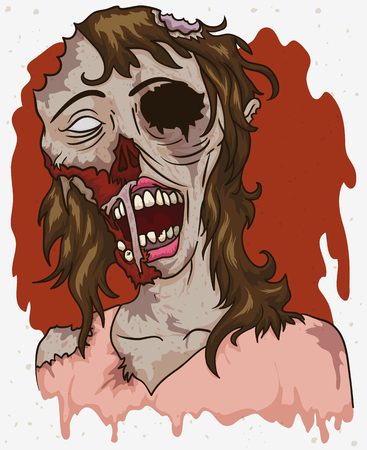 corpse: Portrait with female zombie rotting in cartoon style.