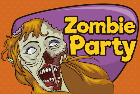 corpse: Invitation to zombie party with smiling female undead in cartoon style for Halloween season.