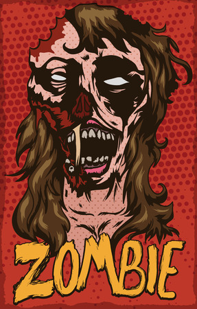 terrifying: Terrifying poster with scary female zombie design to celebrate Halloween in pop art style.