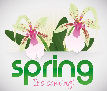 Exotic orchids blooming with spring greeting message.