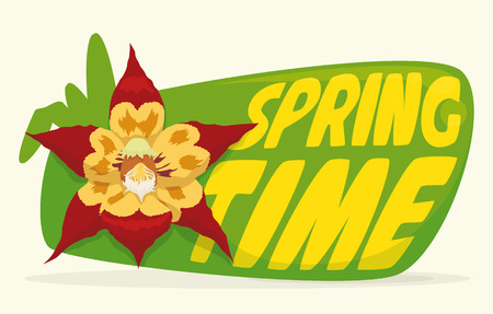 Springtime in a yellow text on green sign and red beauty orchid and some leaves in cartoon style.