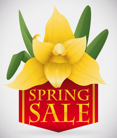 Gorgeous yellow orchid with leaves on top of red ribbon and golden text with advertisement of Spring Sales.