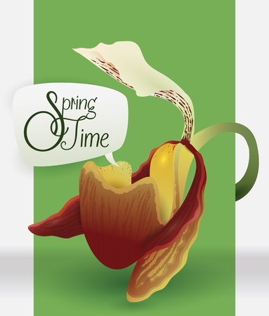 sepals: Exotic orchid with a speech bubble announcing springtime.