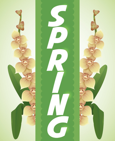sepals: Green ribbon with Spring white text and glows over branches and little orchids.
