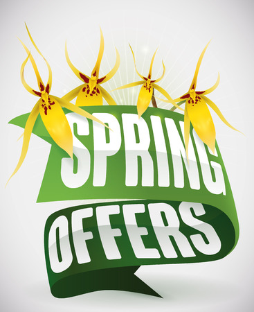 Big offers for Springtime announced with green ribbons and pretty yellow orchids in white background.
