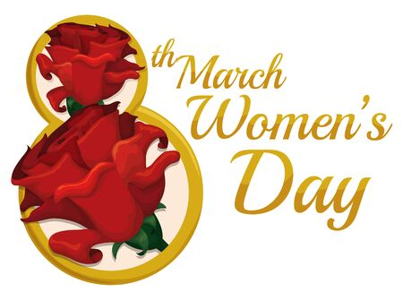 fem: Golden number eight with red roses inside and Womens Day message.