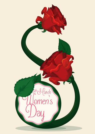 fem: Eights shape with roses, leaves and stems for Womens Day commemoration. Illustration