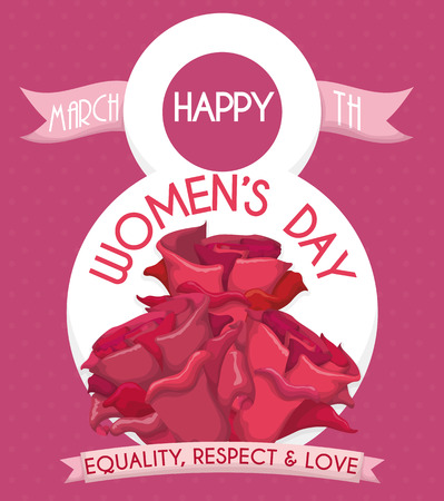 fem: Bouquet of pink roses in a number eight for International Womens Day.