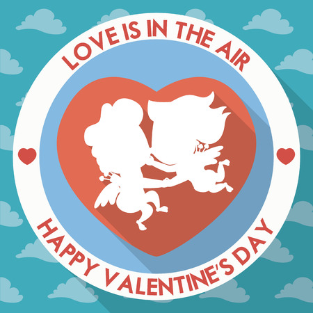 Boy and girl cherubs like Cupids in love floating in the air on rounded icon in flat design. Illustration