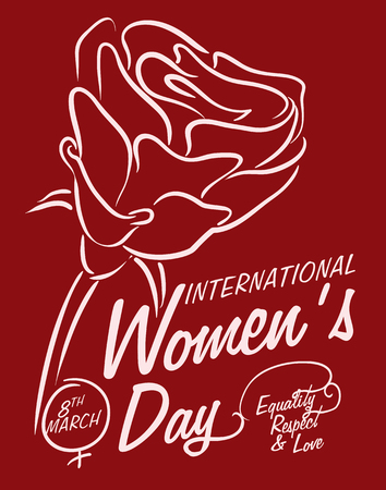 commemoration day: Rose drawn in-line style with Womens Day greeting and principles. Illustration