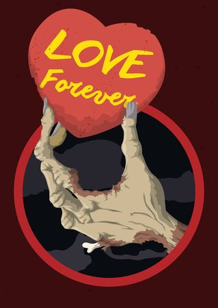 Rotten in-love zombie hand remember that love last forever. Illustration