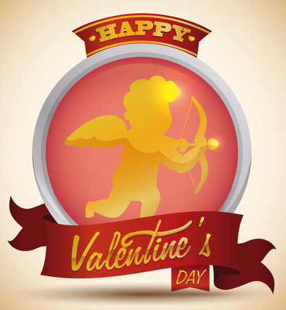 Valentines Day button with a golden Cupid and red ribbons with golden greeting message.