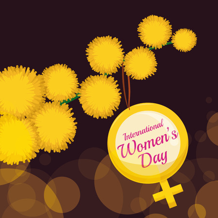 wattle: Branch full of mimosa flowers and a golden womens symbol hanging with Womens Day message. Illustration