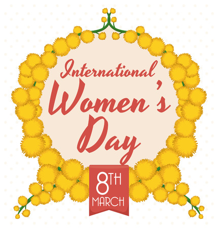 wattle: Wreath formed by yellow mimosa flowers commemorating International Womens Day. Illustration