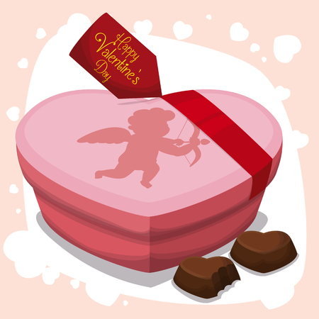 Pink heart box and chocolates with heart shape to give in Valentine's Day.