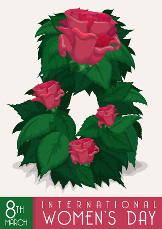 fem: Number eight formed for leaves and pink roses commemorating the Womens Day in March.