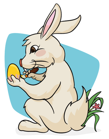hide and seek: Cute rabbit painting Paschal eggs to play hide and seek in Easter holiday.