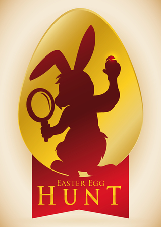 easter egg hunt: Bunny silhouette with a magnifying glass in its hand beginning the traditional Easter egg hunt.