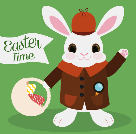 Little private eye bunny ready to find all the missing chocolate eggs in the Easter egg hunt. Illustration