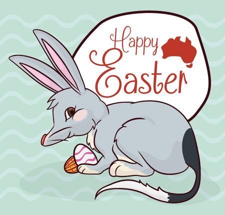 Mischiavous bilby with some chocolate eggs in Australian Easter celebration and greeting sign.