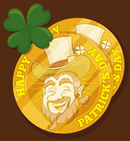 clover face: Four leaf clover and golden coins for St. Patricks Day party with a happy leprechaun face.