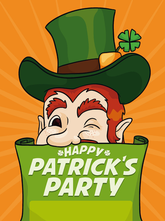 clover face: Lucky leprechaun inviting you to celebrating St. Patricks Day party.