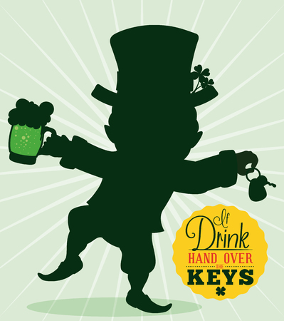 Campaign for a safe return with a drunk leprechaun silhouette with green beer and car keys parting in St. Patricks holiday. Illustration