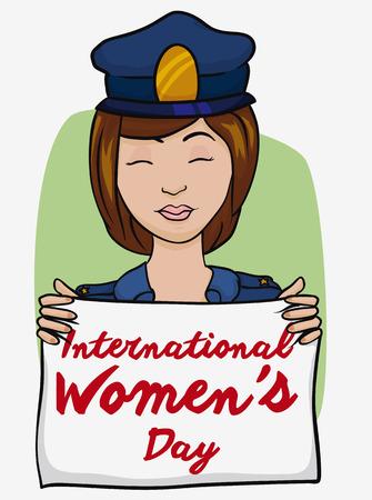 mujer policia: policía bonita con uniforme azul con una bandera blanca con el mensaje de Día de la Mujer. Vectores