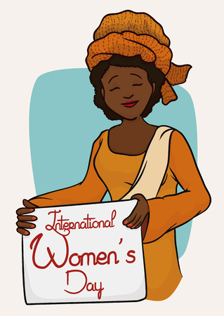 Smiling African woman with turban and traditional clothing holding a commemorative Women's Day sign.