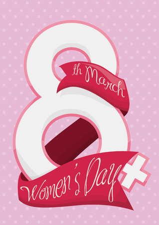 commemoration day: Number 8 mixed with woman symbol with pink ribbon around it commemorating Womens Day. Illustration