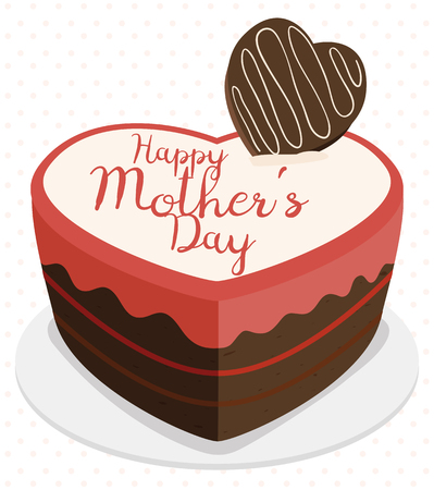 tender sentiment: Delightful cake with chocolate and strawberry cream with greeting message for Mothers Day with heart shape.
