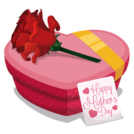 tender sentiment: Gift in heart shape box with golden ribbon, a red rose in the top and a greeting card to celebrate Mothers Day.