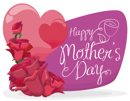 tender sentiment: Roses with pink hearts and a purple sign with Mothers Day greeting message.