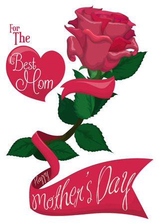 commemoration day: Precious pink rose and a ribbon across with commemorative Mothers Day message and a floating heart.