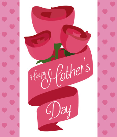 tender sentiment: Pretty pink roses behind pink ribbons with greeting message for Mothers Day.