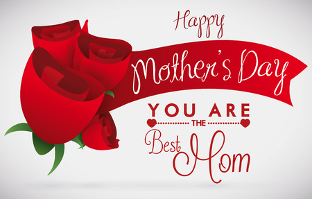 Bouquet with red roses and a red ribbon with Mothers Day message and a greeting message below. Illustration