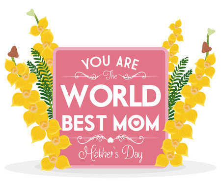 tender sentiment: Precious design with orchids and greeting sign for Mothers Day commemoration. Illustration