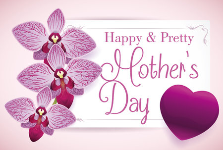 Precious greeting card with purple orchids and heart for Mothers Day. Illustration