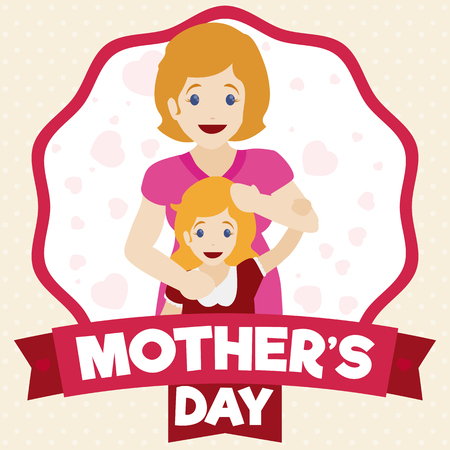 commemoration day: Cute blond-haired mom and daughter smiling inside a label with ribbons for Mothers Day.