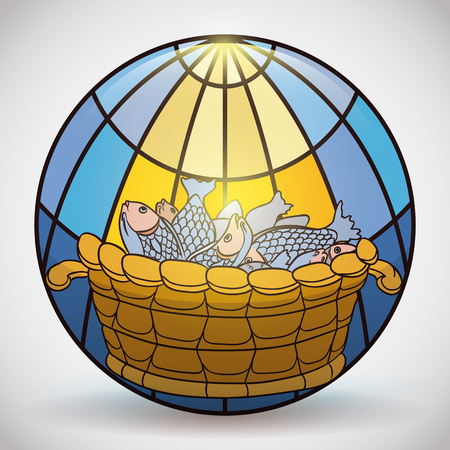 Stained glass rounded icon with religious scene of the miracle of multiplication of fishes. Illustration