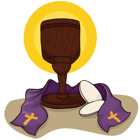 stole: Wooden chalice with sacred aureole, communion Breads and purple stole, special color for Holy Week period.