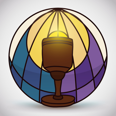 communion wafer: Sacred wooden chalice with aureole in stained glass style with symbolic blue water in left and purple color at the right for whine. Illustration
