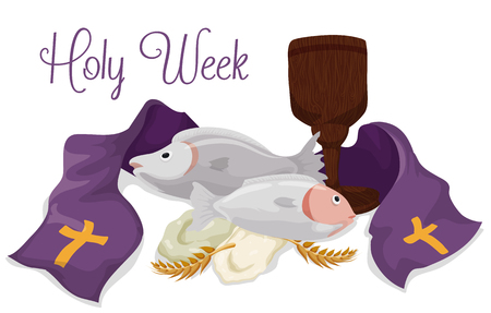 stole: Fishes, breads, wooden chalice, ears of wheat and a purple stole of Catholic Lent holiday. Illustration