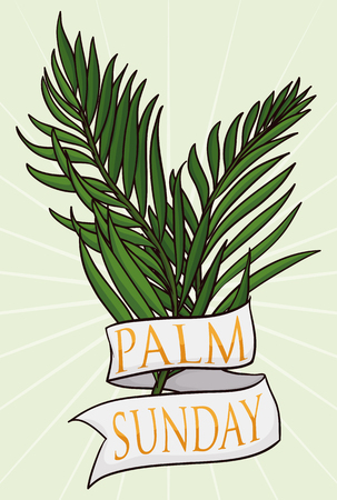 Two branches with a white ribbon around it and golden text inside for Palm Sunday holiday.