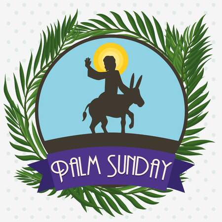 Button with Jesus riding a donkey for triumphal entry into Jerusalem with branches of palm around in the Palm Sunday holiday.